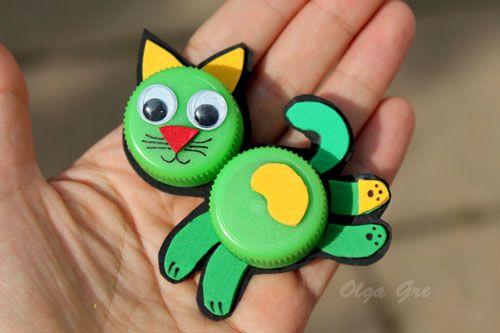 Поделки из крышек: Кошка