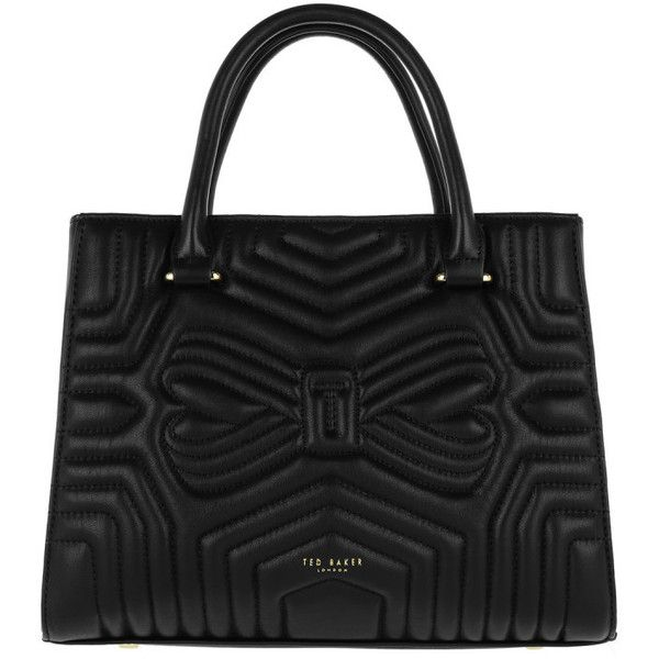 Ted Baker Handle Bag - Vieira Quilted Bow Tote Bag Black - in black -... (2.250 DKK) ❤ liked on Polyvore featuring bags, handbags, tote bags, black, logo tote bags, lined tote bag, ted baker tote, genuine leather tote bags and ted baker tote bag