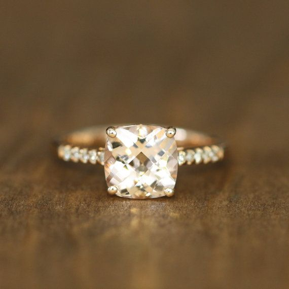 10k Rose Gold Diamond Pink Morganite Engagement Ring by LuxCrown