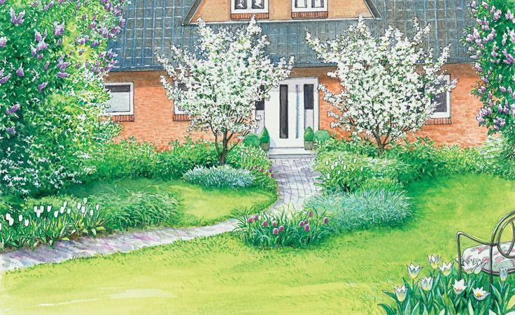 Einen großer, leerer Vorgarten bietet viel Platz für tolle Gestaltungsideen. Zwei Vorschläge zum Nachpflanzen – eine ländliche und eine elegante Variante. (Pflanzplan als PDF zum Herunterladen und Ausdrucken)