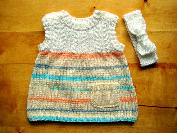 Baby knitted dress with hairband. Baby girls by BalticWoodAndWool