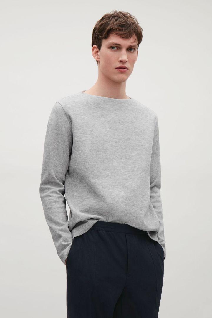 COS image 2 of Wide-neck jersey sweatshirt in Light Grey