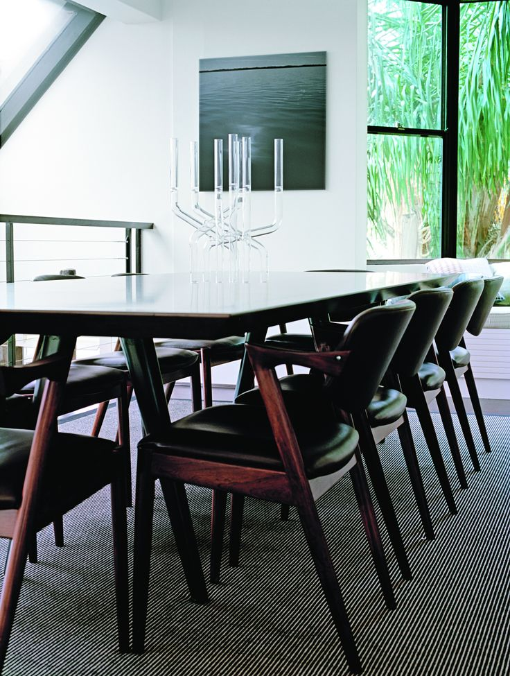 Dining room with Kai Kristiansen chairs and bespoke table. Brooke Aitken Design