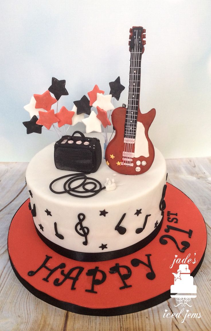 Guitar cake Music cake 21st birthday cake
