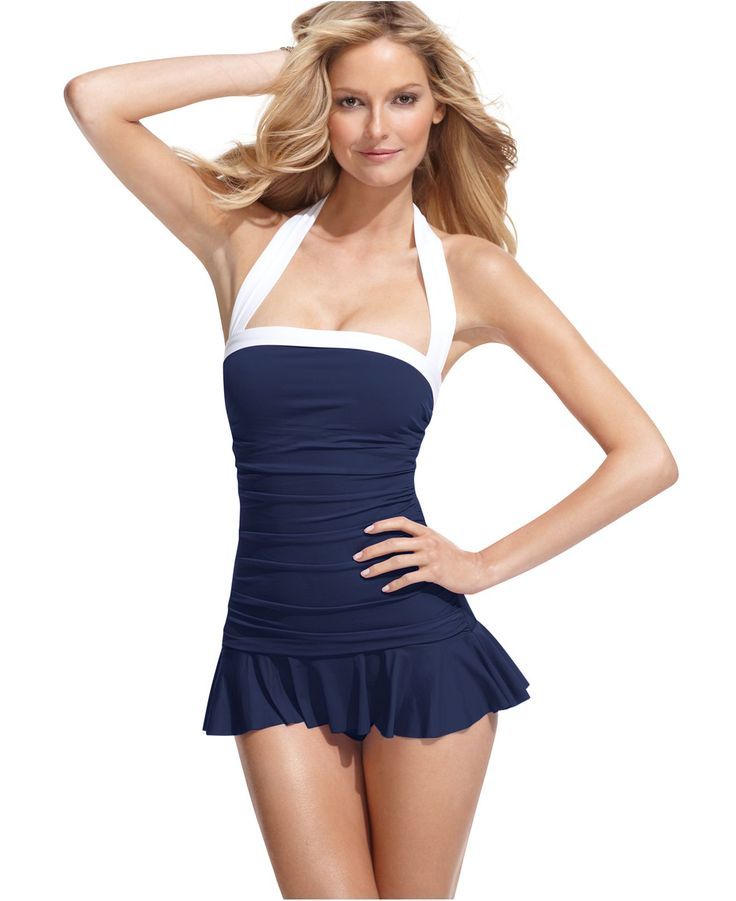 Lauren by Ralph Lauren Swimsuit, Halter Ruched Tummy Control Swimdress -  If only I needed this...
