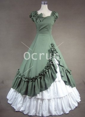 Grün und Weiß Sweetheart Baumwolle viktorianischen Kleid