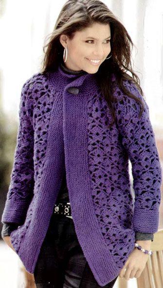 Long Purple Jacket free crochet graph pattern -- gorgeous