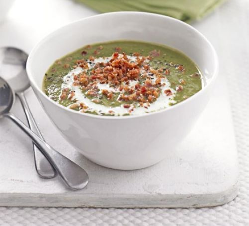 Creamy lentil & spinach soup (omit cream and bacon)
