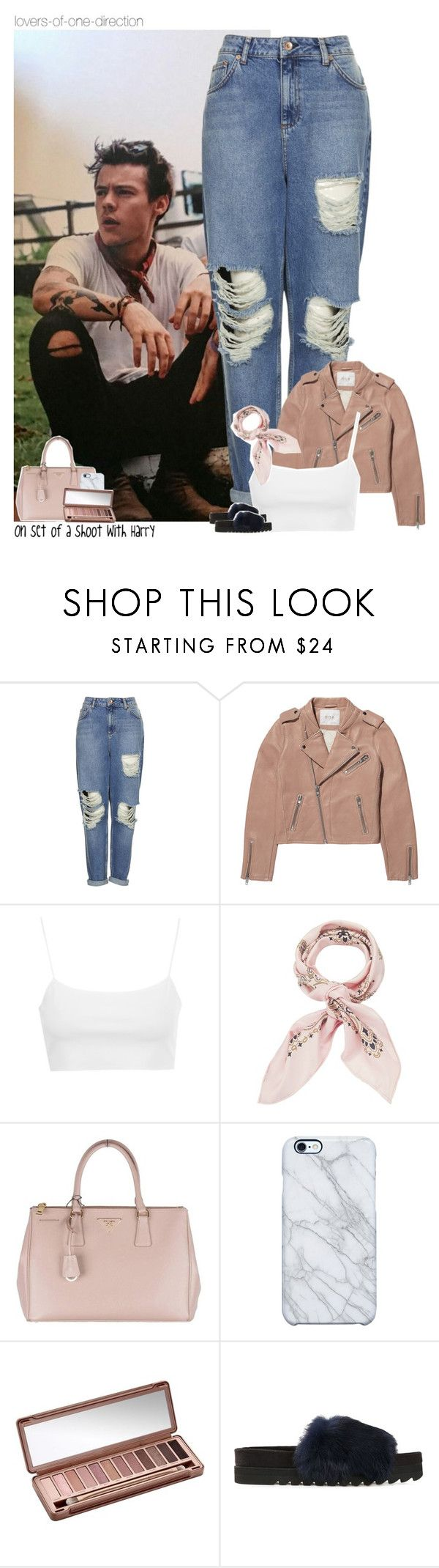 """On set of a shoot with Harry"" by lovers-of-one-direction ❤ liked on Polyvore featuring Topshop, Maje, Manipuri, Prada, Uncommon, Urban Decay and Undercover"