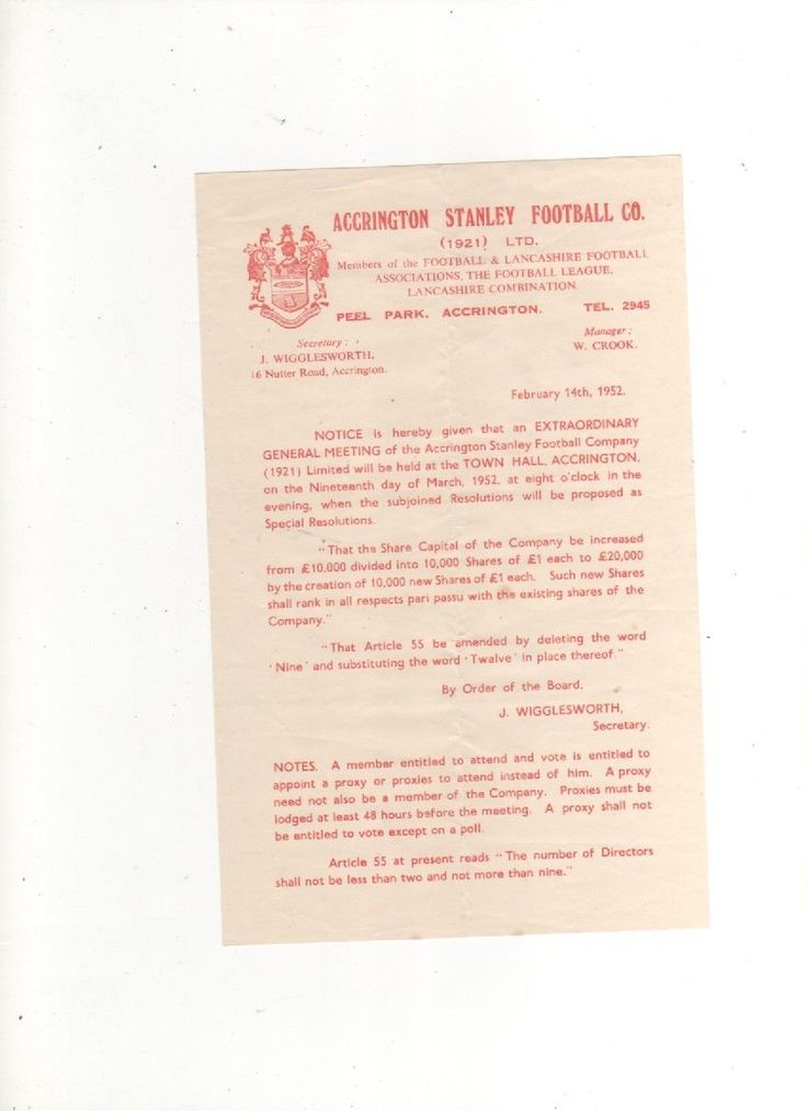 1951-52 Accrington Stanley 2 SHAREHOLDERS LETTERS/NOTICES OF EGM 14 February 52 | eBay