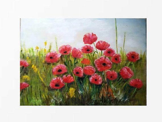 POPPY FIELD Original Oil Painting Poppies home decor by MarikaArt