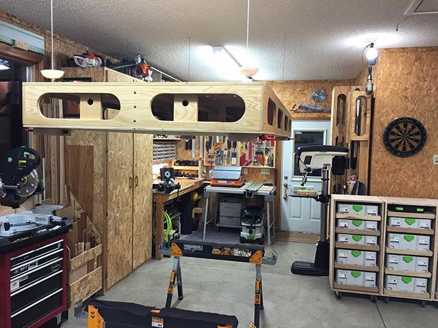 Clever idea! Jeff uses a pulley system to store his Paulk Workbench on the…