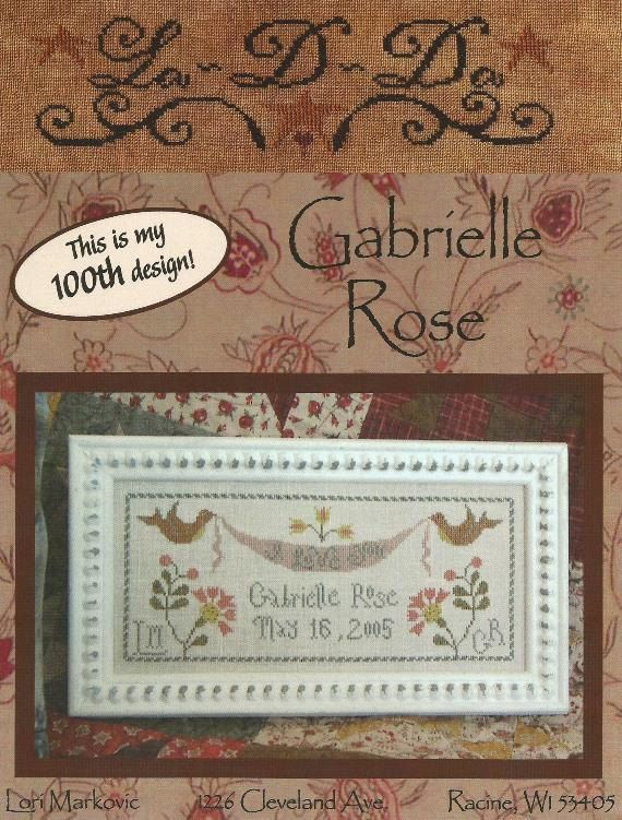 LADDA Gabrielle Rose  Primitive Cross Stitch by NeedleCaseGoodies