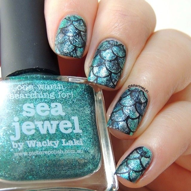 Best 25 fish scale nails ideas on pinterest pretty nails diy sea jewel by picture polish mermaid nails fish scales nails stamping gals prinsesfo Images