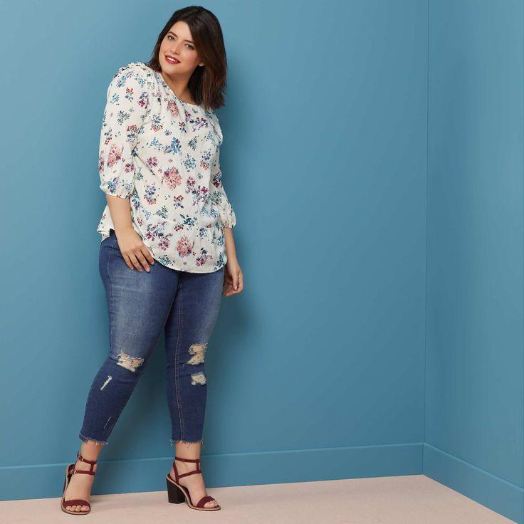 Jeans skinny effetto usurato e sfilacciato Taglie forti donna - Kiabi - 30,00€