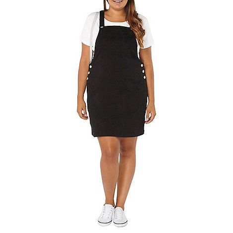 Evans black dungaree dress with button fastening at the straps and pocket at the front.
