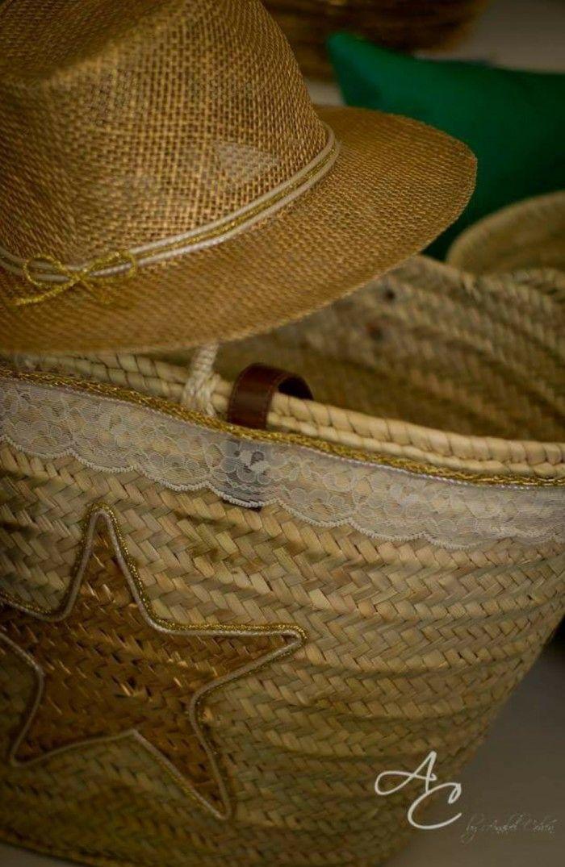 Set de capazo mas sombrero estrella dorada y encaje mediterraneanstyle by anabelcohen