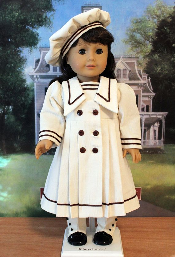 Sailor Style Dress and Hat for Samantha or Rebecca, ivory corduroy with brown trim, by BabiesArtUs, $55.00