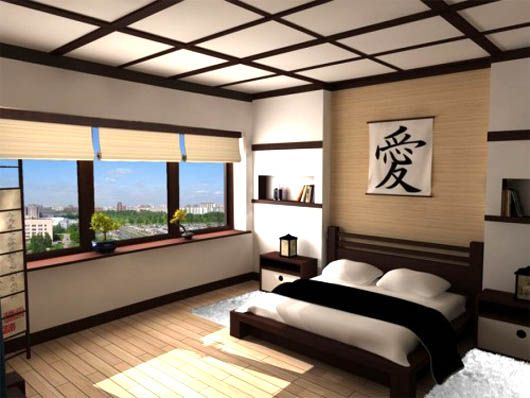 modern japanese style bedroom decorating