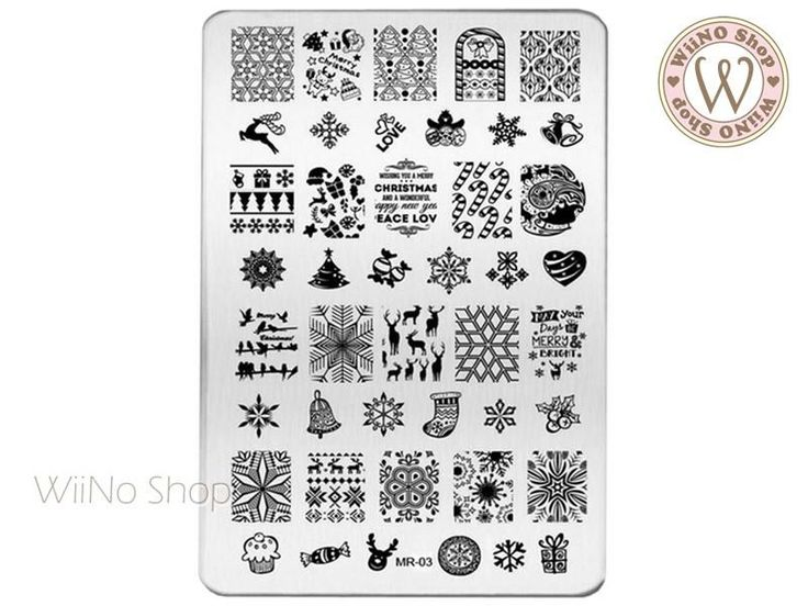 MR-03 Christmas Nail Art Stamping Plate Template nageldesign stempel MR-03 Chris… MR-03 Christmas Nail Art Stamping Plate Template nageldesign stempel MR-03 Christmas Nail Art Stamping Plate Template