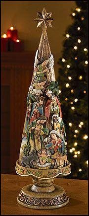 "Nativity Scene Christmas Tree Large 20"" Tall Avalon Collection"