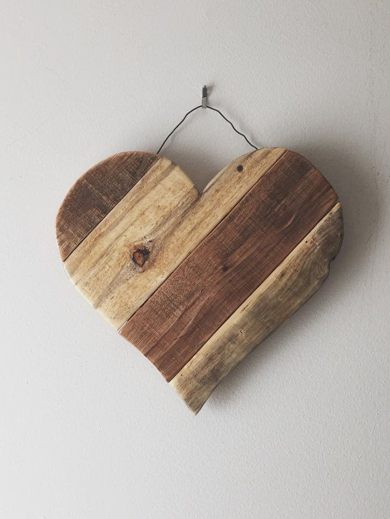 Rustic Reclaimed Wood Hearts - Valentines spring, summer wood door hangers/ garden and home decor