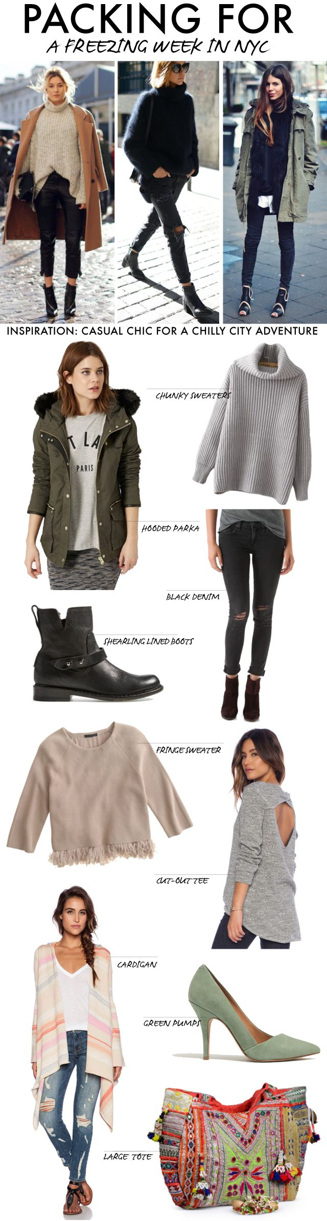 Packing ideas for a freezing NYC weekend.