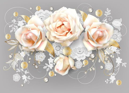 Horizontal wedding card with white roses and Dutch lace by Maria Rytova #decorative #rose #flower #floral #elegant #belgian #lace #wedding #cute #greeting #card #design #3D #3dimension #realistic #dutch