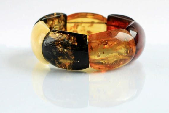 Genuine Multicolored Amber Bracelet Handcrafted Baltic Amber