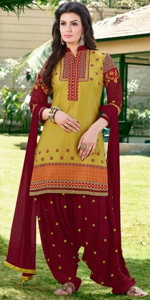 Admire Green And Maroon Cotton Patiala Suit.