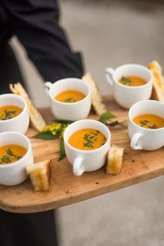 Creative way to serve grilled cheese and tomato soup at your event