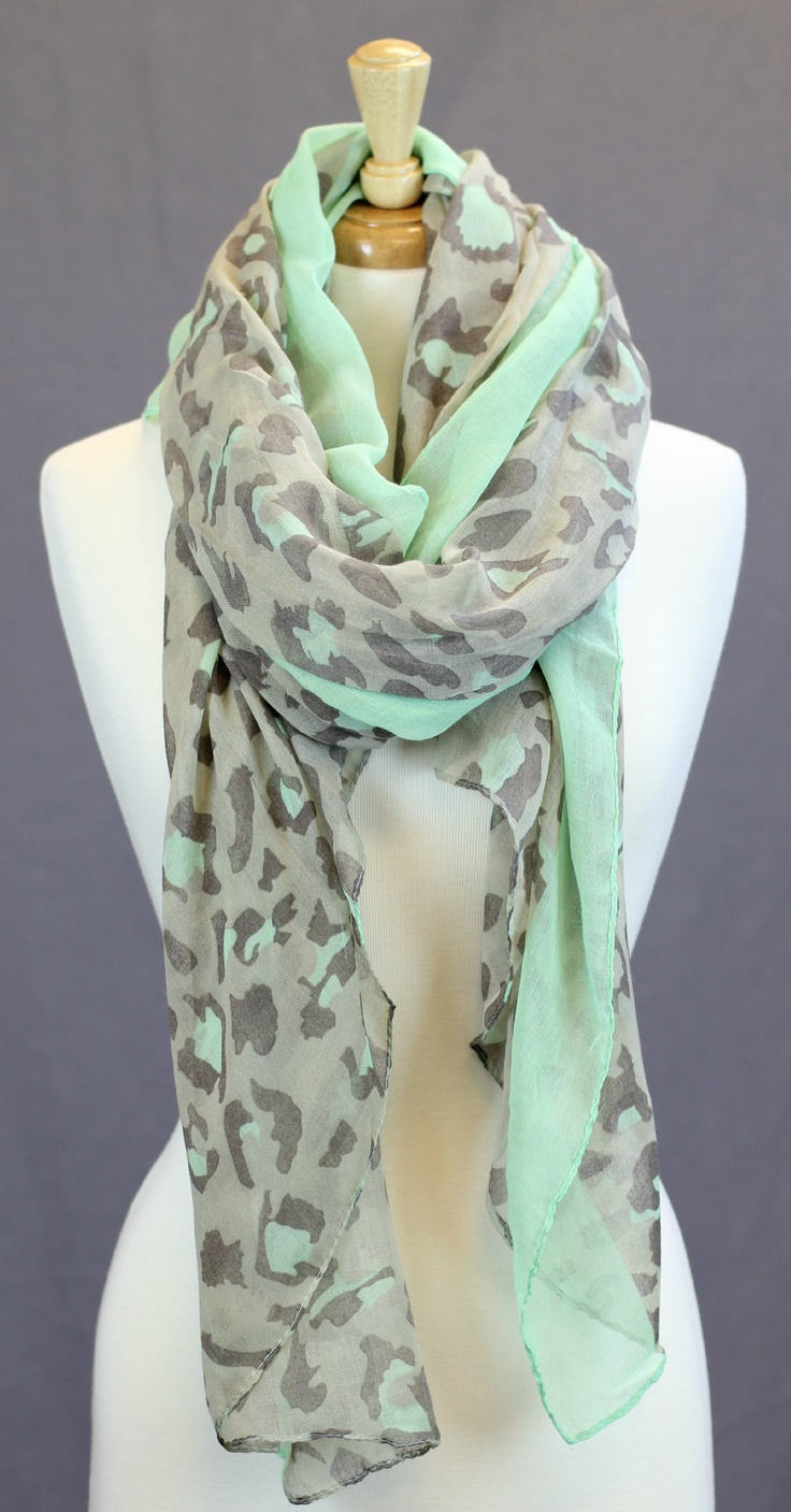 Mint and leopard print scarf