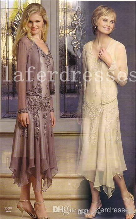 Wholesale Mother of the Bride Dress - Buy 2014 Newest A Line V-Neck Tea Length Mauve Champagne Chiffon Appliques Sheer Long Sleeve Jacket Plus Size Mother Of The Bride Dresses 0122, $103.33 | DHgatecan get this in either color