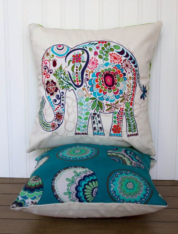 "Elephant Pillow- 12""x12"" Decorative Throw Pillow Cover with blue paisley elephant appliqué and peacock blue backing backing"