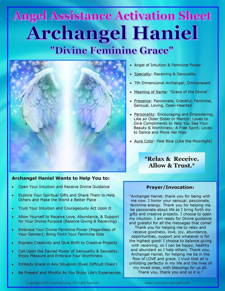 Angel Assistance Activation Sheet - Archangel Haniel updated