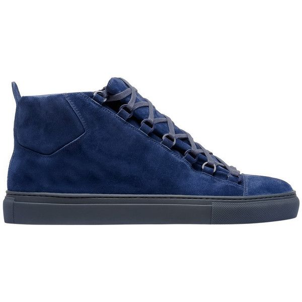 Balenciaga High Sneakers ($585) ❤ liked on Polyvore featuring men's fashion, men's shoes, men's sneakers, bleu navy, mens navy shoes, mens velvet shoes, balenciaga mens shoes, balenciaga mens sneakers and navy blue mens shoes