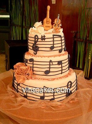 Muzieknoten, bruidstaart, goud