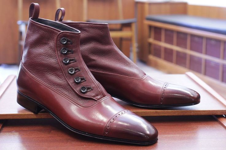 Handmade Men Classic Brown Button Top Leather Boots Dress Casual Leather Jeans - Boots