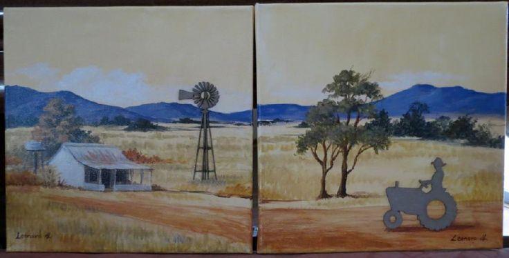 Diptych - Farmer and farmhouse - acrylics