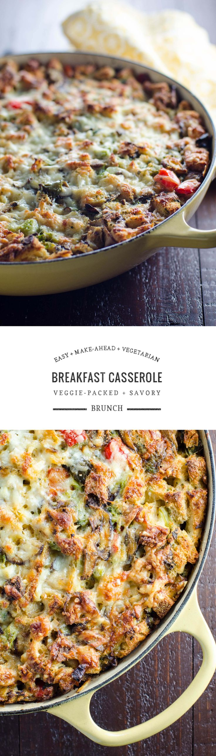 This savory vegetarian make-ahead breakfast casserole is brimming with vegetables. It's perfect to feed a crowd on Christmas morning or at a festive brunch.