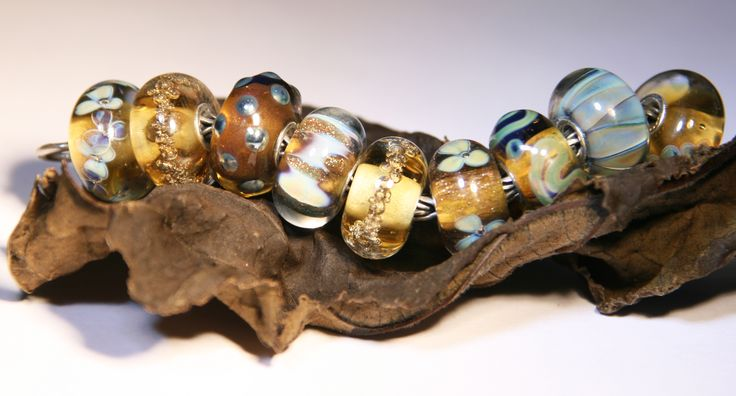 Artisan Lampwork beads for Trollbeads Anne Meiborg - Brown bead set www.annemeiborg.etsy.com
