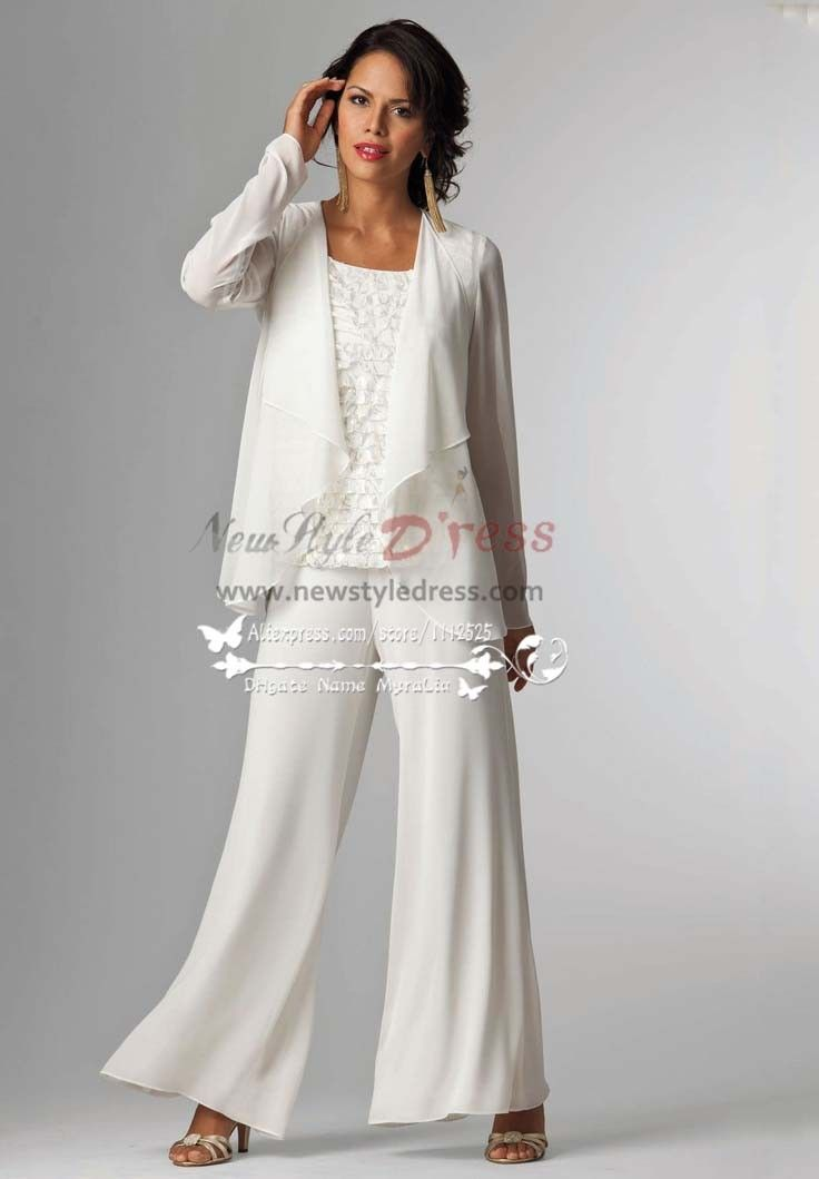 Elegant white mother of the bride pants suit with jacket for Womens dress jacket wedding