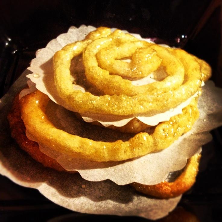 Zlabia or zalabia with sugar syrup with cinnamon ,vanilla, lemon and orange juice