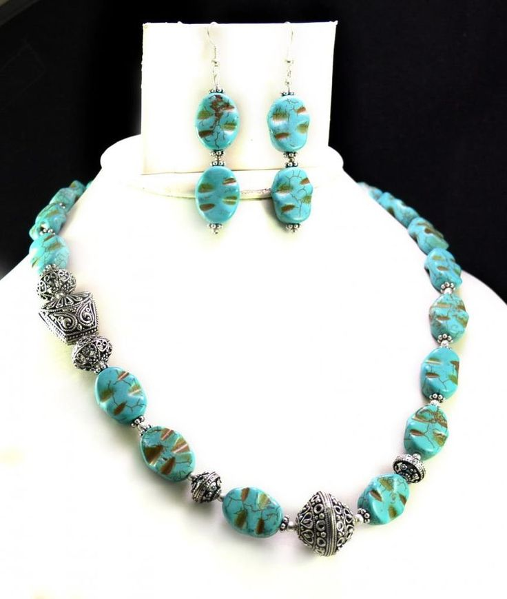 434ct Natural Semi Precious Blue Turquoise Designer Beads Necklace with Earrings #Handmade #Choker