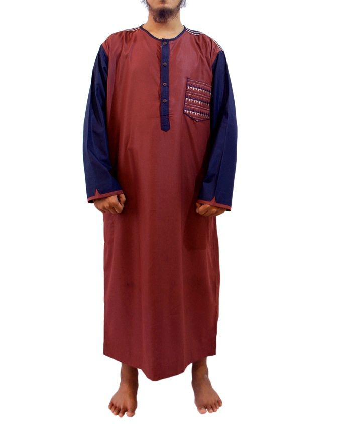 Samase Baju Jubah Pria Warna Maroon Biru-Lengan Panjang Kerah Oblong