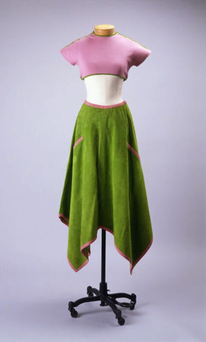 A Bonnie Cashin crop top and suede skirt ensemble from her Spring-Summer 1973 collection.