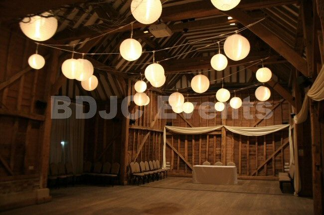 Fully lit Paper Lantern canopy for weddings and Events in Hertfordshire, Buckinghamshire, Bedfordshire  #bdjcevents #eventlighting #partylighting #venuedressing #ledtablecentres #paperlanterncanopy