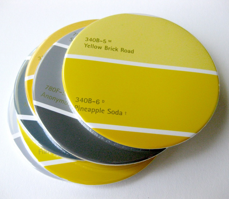 Mustard & Gray Coasters // Recycled Paint Samples // Yellow Home Decor. $18.00, via Etsy.