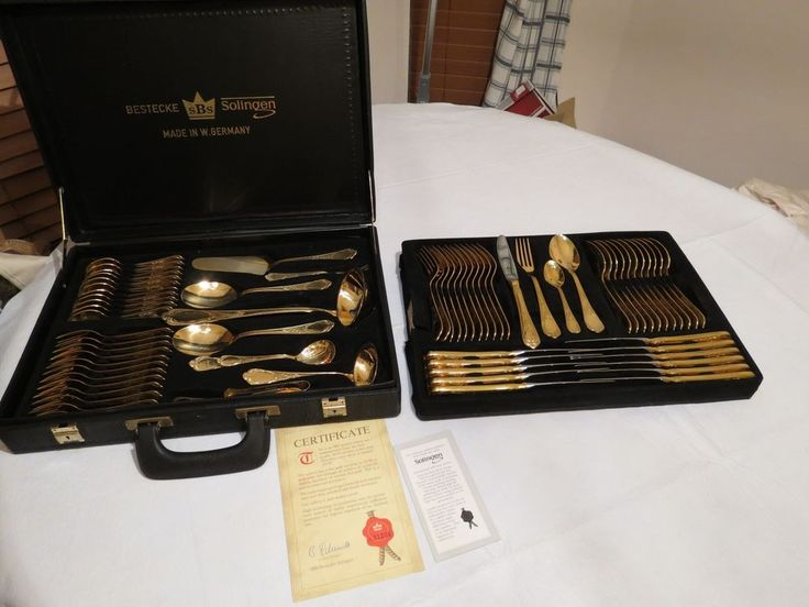 SBS Bestecke Solingen Full set 72 pieces 23/24 CT gold plate flatware silverware #SBSBesteckeSolingen