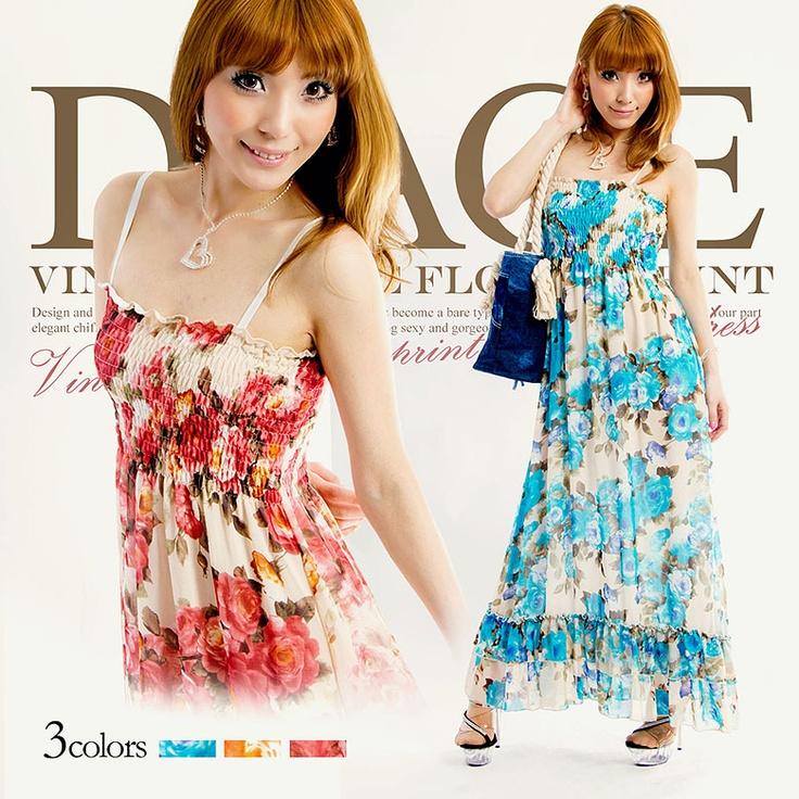 [全3色]ヴィンテージ風フラワープリントマキシロングドレス